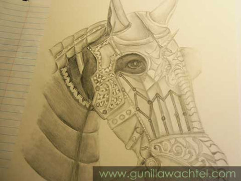 Horse Drawing Armored Horse - Pencil Drawing by Gunilla Wachtel