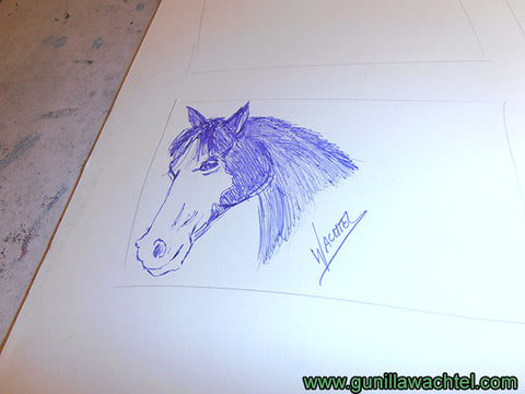 Horse with Blazey Concept Sketch work in progress - Gunilla Wachtel