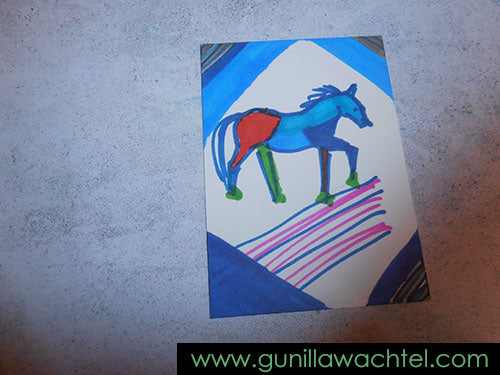 Creative Sandbox - Day 3 - ACEO card - Horse Drawing - Gunilla Wachtel