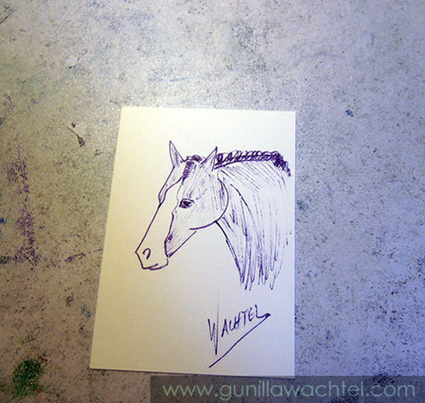 100 Artworks - ACEO - Gunilla Wachtel - horse drawing