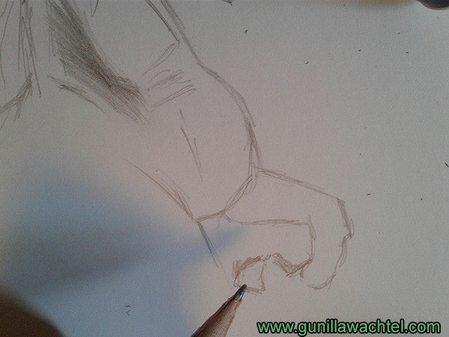 horse artwork in progress 3 - Gunilla Wachtel equine artist