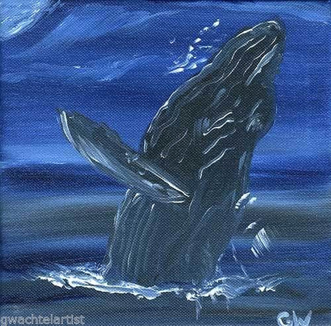 Original Humpback Whale Acrylic Painting Night Sky Canvas