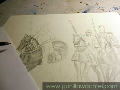 Knights and Horses in Progress Drawing Gunilla Wachtel