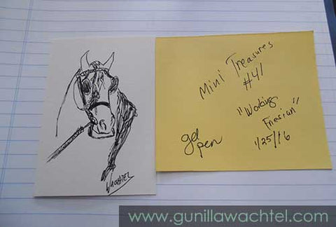 Mini Treasures 41 Gunilla Wachtel horse drawing Friesian