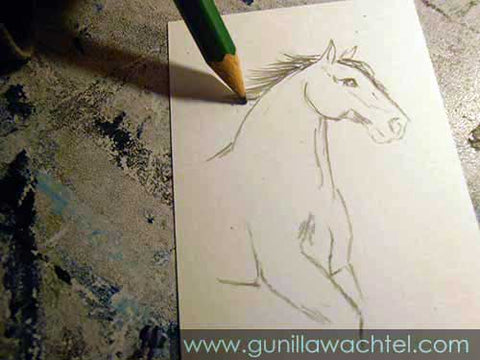 Mini Treasures ACEO in progress - horse sketch - Gunilla Wachtel