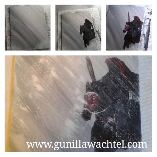 Painting Adventures horse and warrior rainy snow storm  Gunilla Wachtel