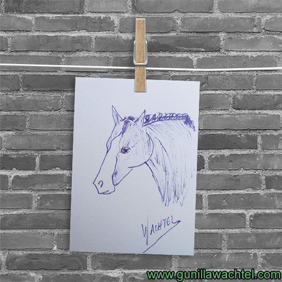 Purple ink horse drawing ACEO art Gunilla Wachtel