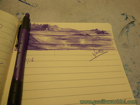 Purple Ink Sketch Gunilla Wachtel