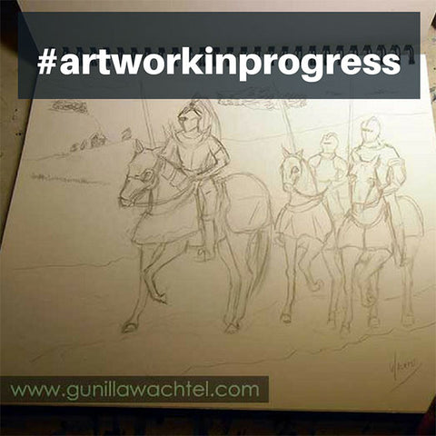 Sketchbook Pencil Drawing Knights and Horses Gunilla Wachtel