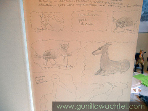 Sketchbook sketches Gunilla Wachtel