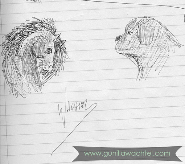 Horse and Dog Pen Sketch from my sketchbook Gunilla Wachtel