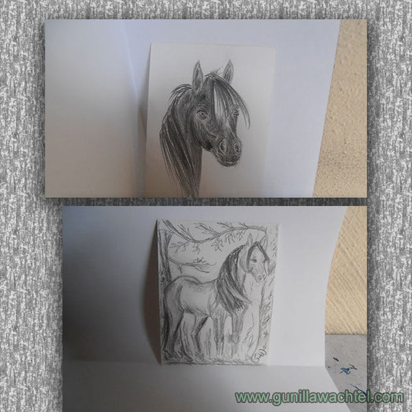 Two Horses - ACEO cards - Gunilla Wachtel drawings sketches