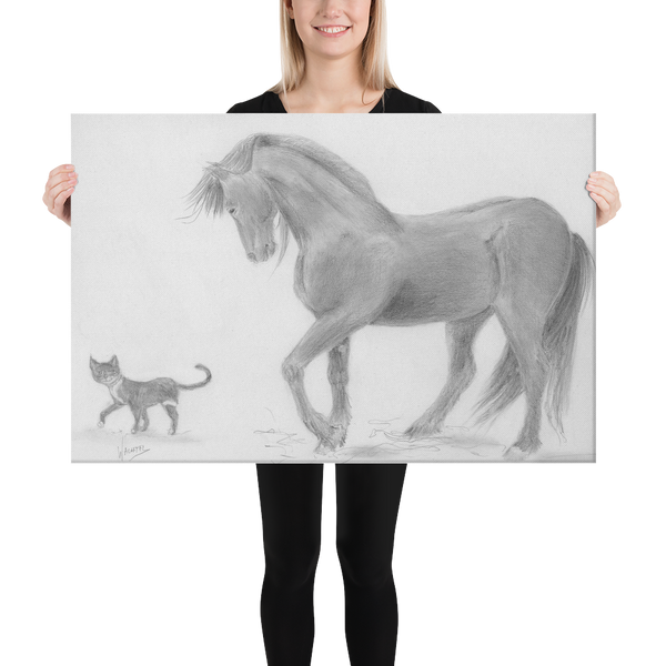 Friesian Horse and cat Equine Drawing Gunilla Wachtel Canvas Print
