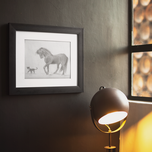 print horse and cat example framed