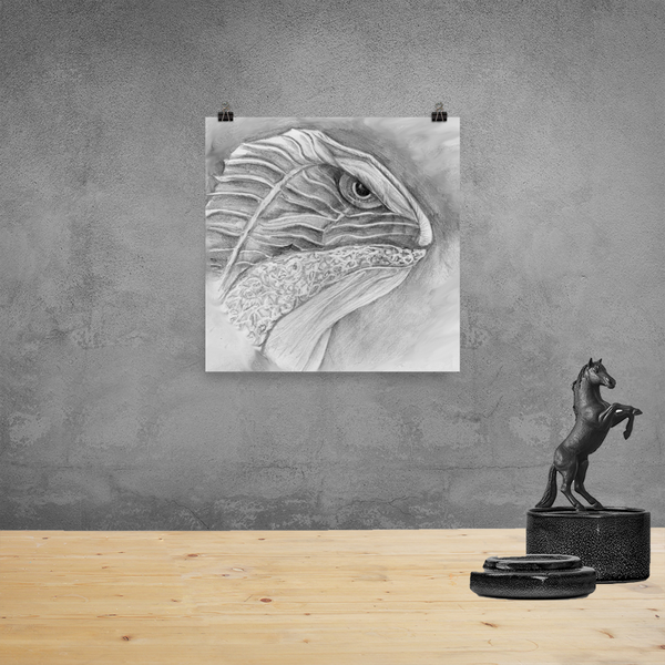 lizard pencil drawing print on wall