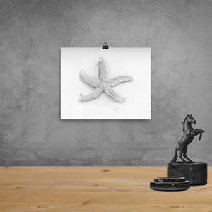 Starfish Beach Home Decor Pencil Drawing Wall Art Print Poster