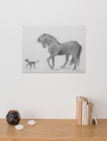 horse and cat pencil drawing print by Gunilla Wachtel