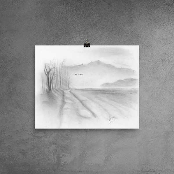Landscape pencil drawing Gunilla Wachtel