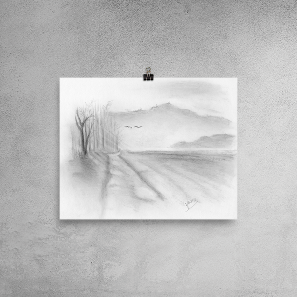 Misty Road landscape drawing Pencil art Gunilla Wachtel