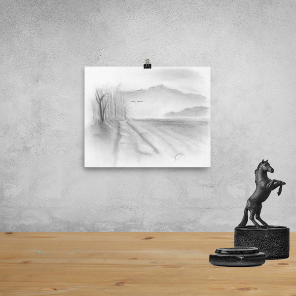 Landscape Road Pencil Drawing Art Print Poster