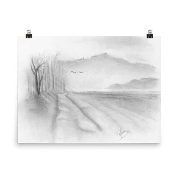 Landscape Road Pencil Drawing Art Print Poster minimalist