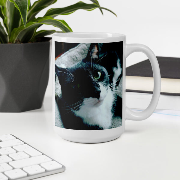 Tuxie the Tuxedo Cat Mug kitty girl kitteh