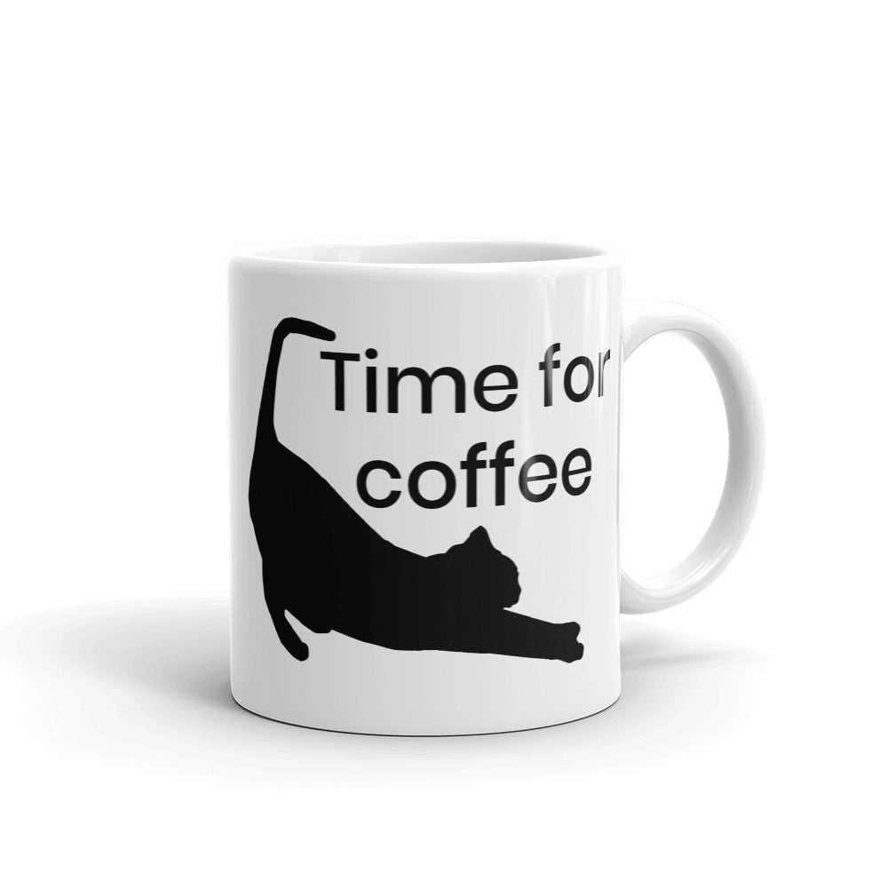 Time for coffee Cat Stretching Mug kitty