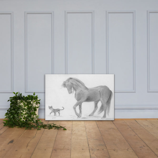 Horse Drawing Canvas Art Print Wall Decor - Friesian Horse and Cat Living room Decor