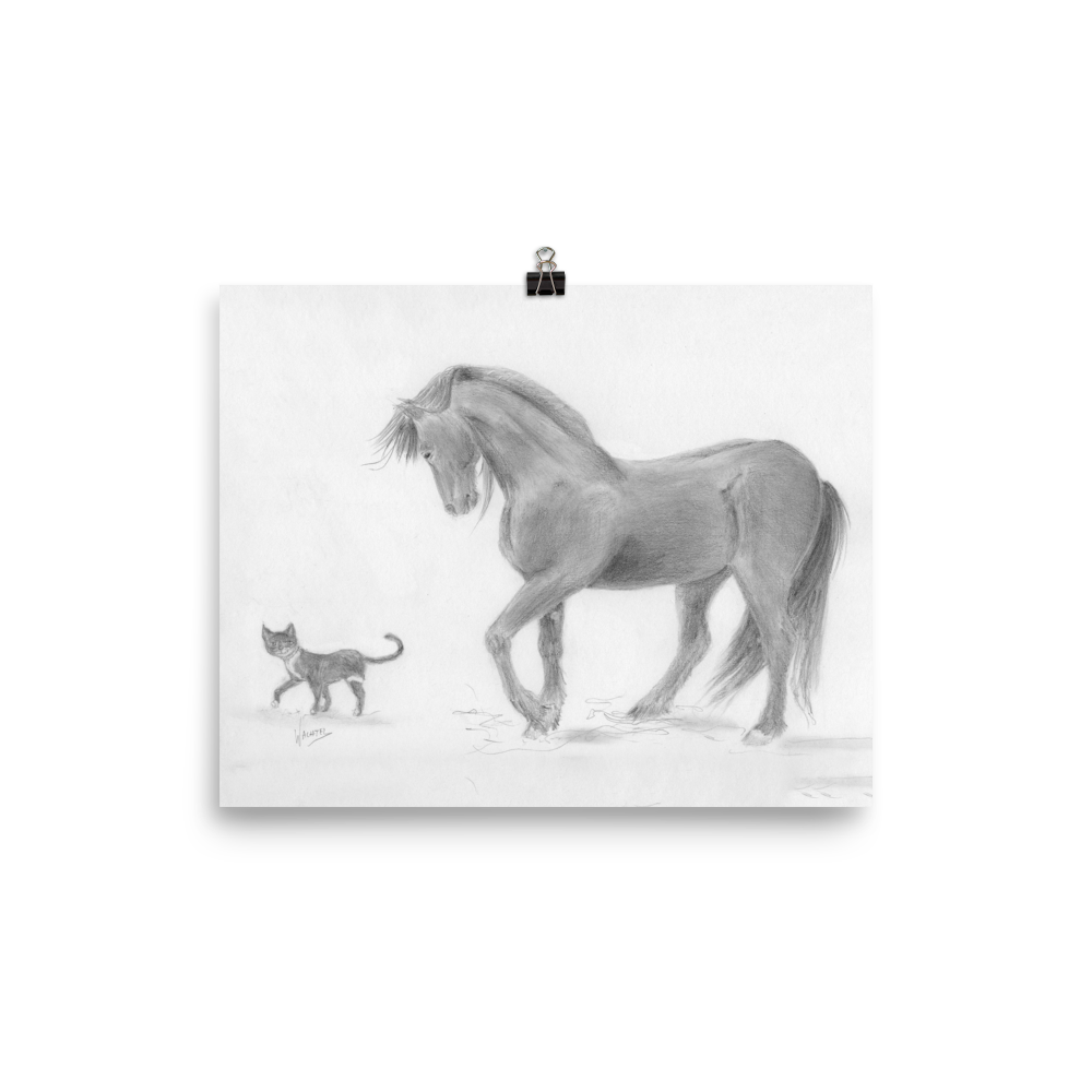 equestrian artwork Horse Wall Poster Art Friesian Horse and Cat Friends Equine Print