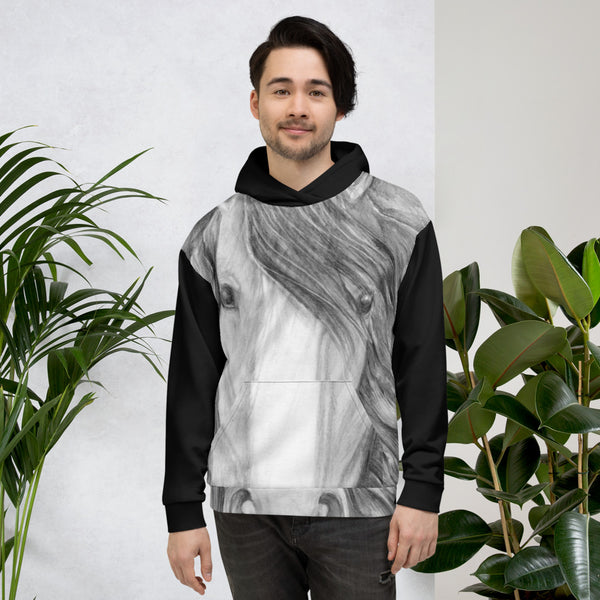 horse head art unisex hoodie gifts for guys girls