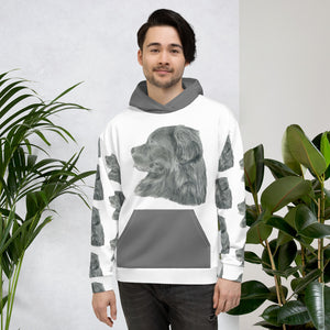 Newfoundland dog drawing Unisex Hoodie