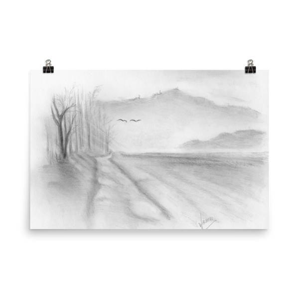 Landscape Road Pencil Drawing Art Print Poster contemporary
