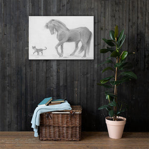 Horse Drawing Canvas Art Print Wall Decor - Friesian Horse and Cat