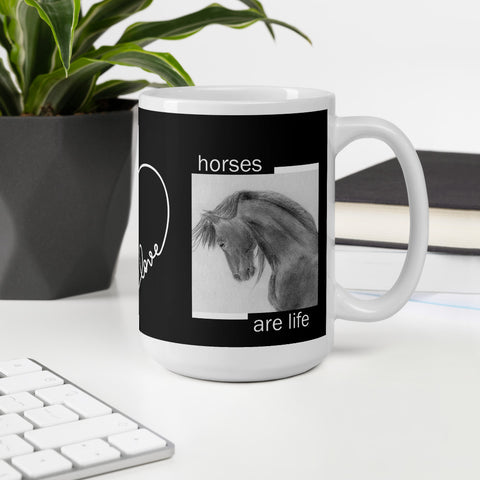 Horses are Life Mug Ceramic Coffee hot Chocolate Tea Gunilla Wachtel Artist