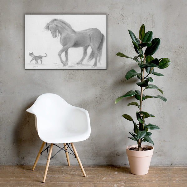 Horse Drawing Canvas Art Print Wall Decor - Friesian Horse and Cat Bedroom Decor