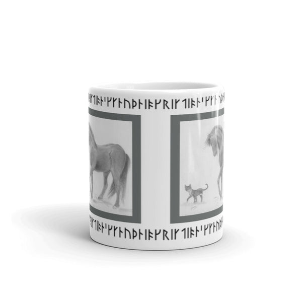 Runes Horse and Cat Mug Viking