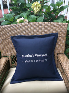 Martha's Vineyard Coordinates Pillow