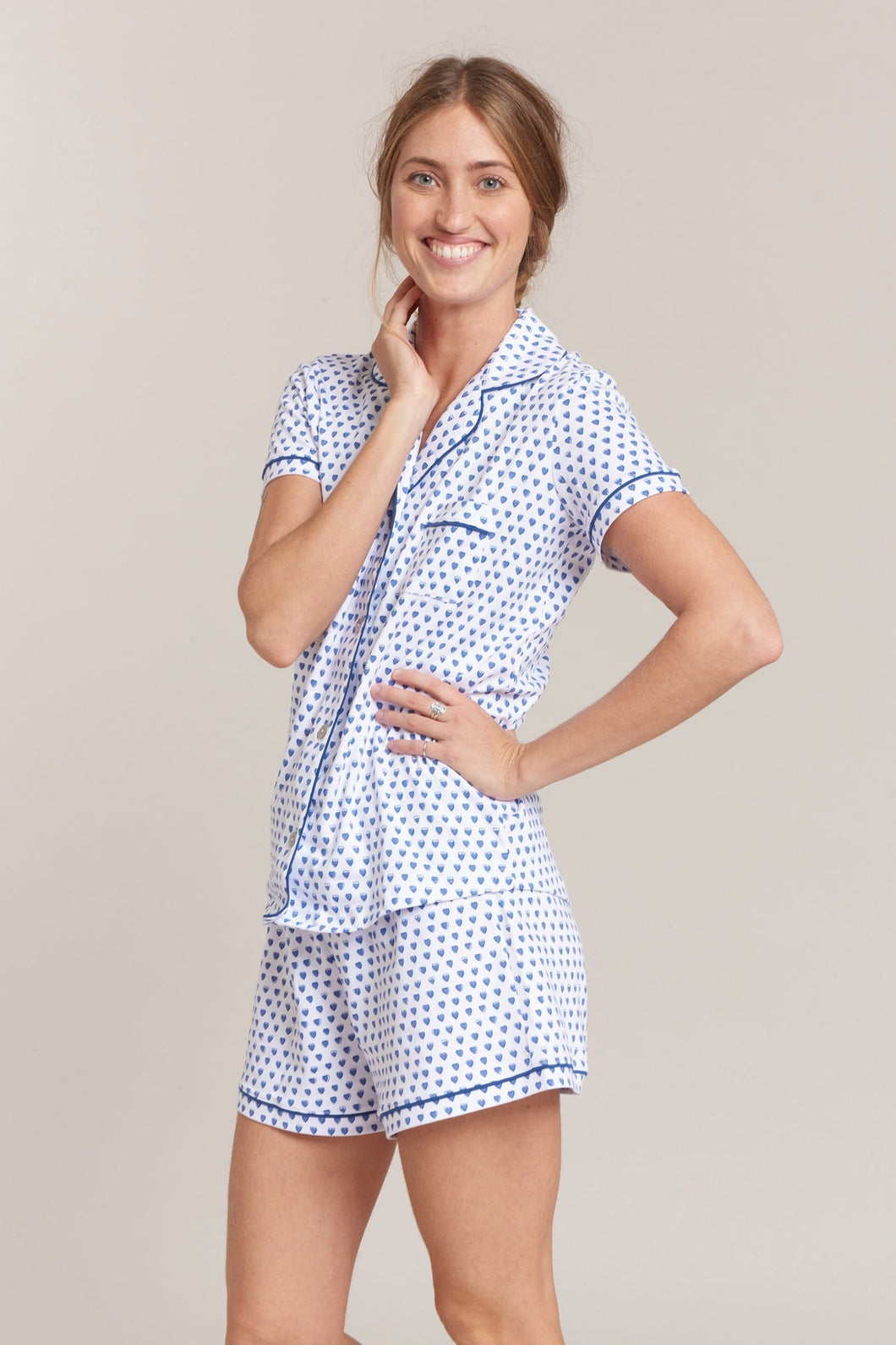 Roller Rabbit Polo PJ Set Blue Hearts