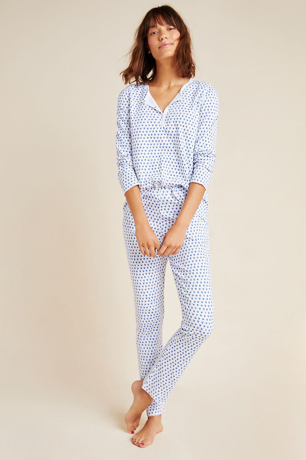 Roller Rabbit Adult Pajamas Blue Hearts