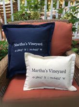 Load image into Gallery viewer, Martha's Vineyard Coordinates Pillow