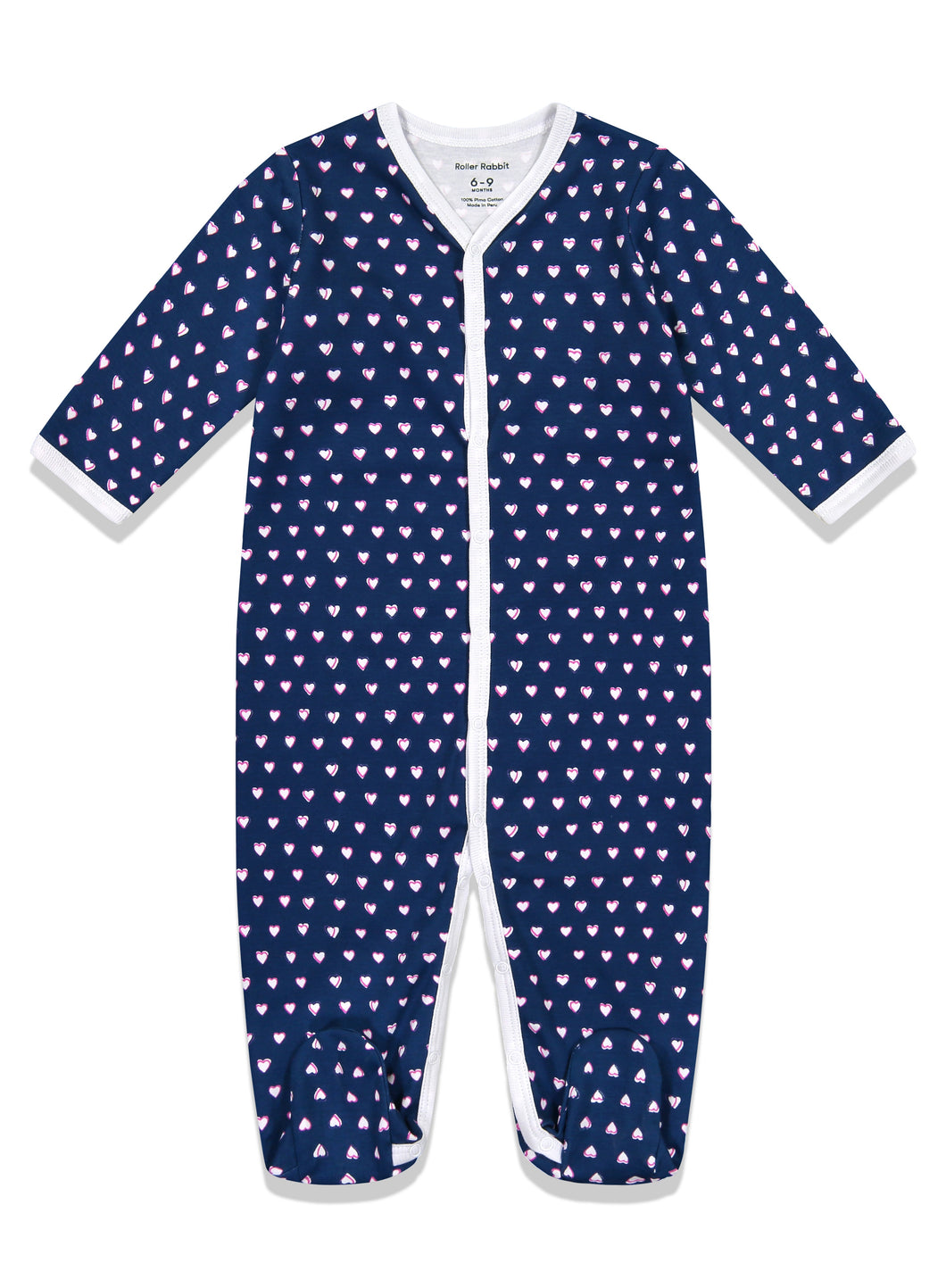 Roller Rabbit Infant Footie Pajamas Navy Hearts