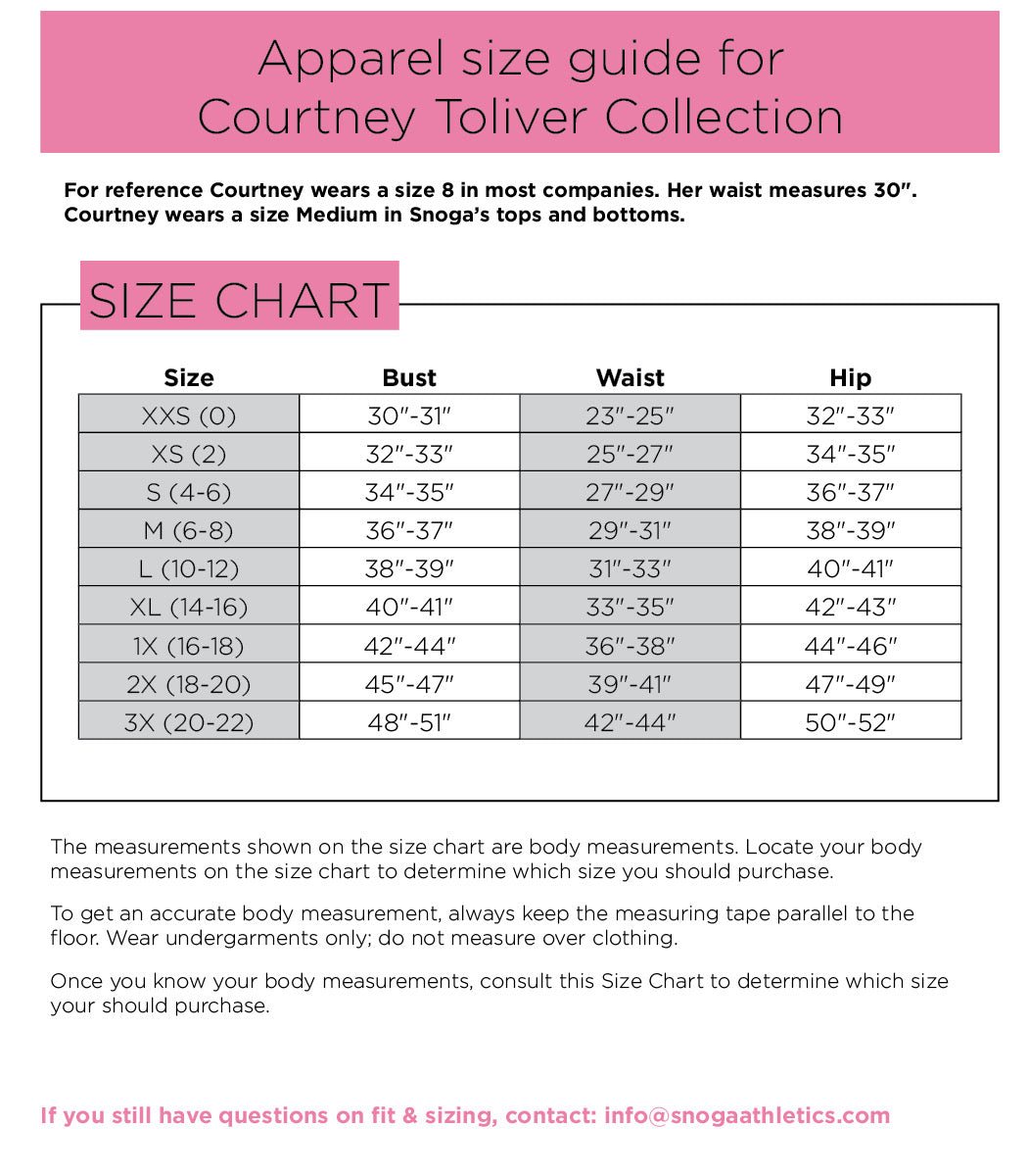 Courtney Toliver Collection Size Chart