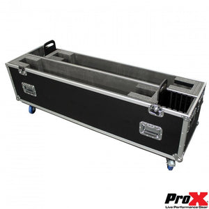 "Pro X Flat Screen TV Road Case Holds Two 60""-70"" TVs Adjustable Case W/ 4"" Casters"