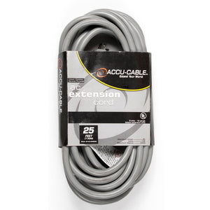 Accu-Cable Gray 25' Power Extension Cord W/ Tri Tap (16 Guage)