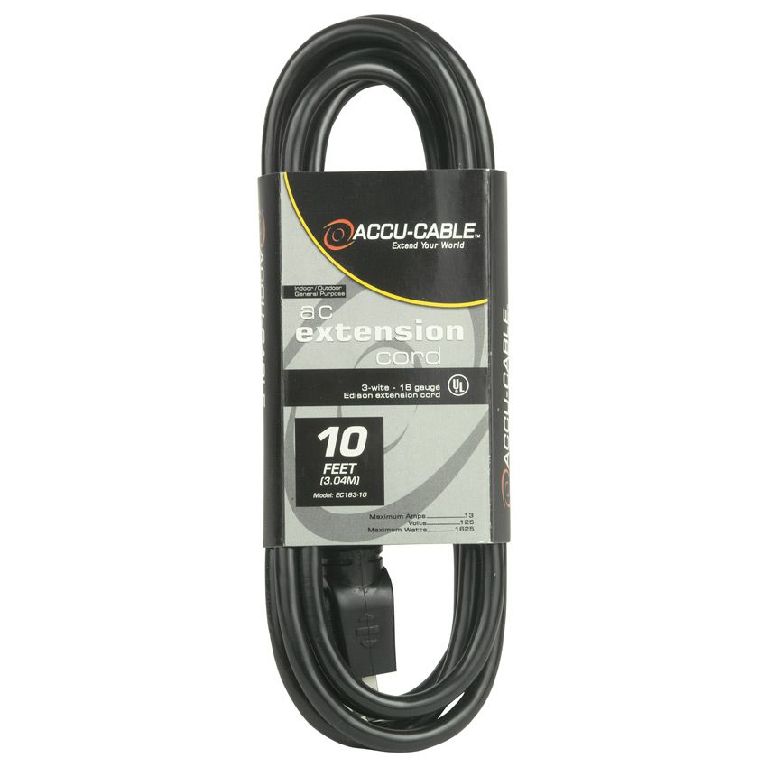 Accu-Cable 10' Power Extension Cord W/ Tri Tap (16 Guage)
