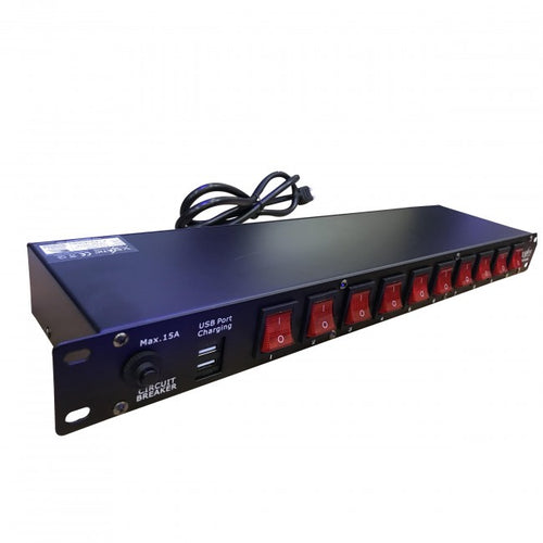 Pro X 10 Plug Rack Mount Power Distribution Unit With 2 USB Ports