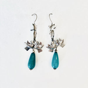 Hand with Birds and Turquoise Drop Earrings
