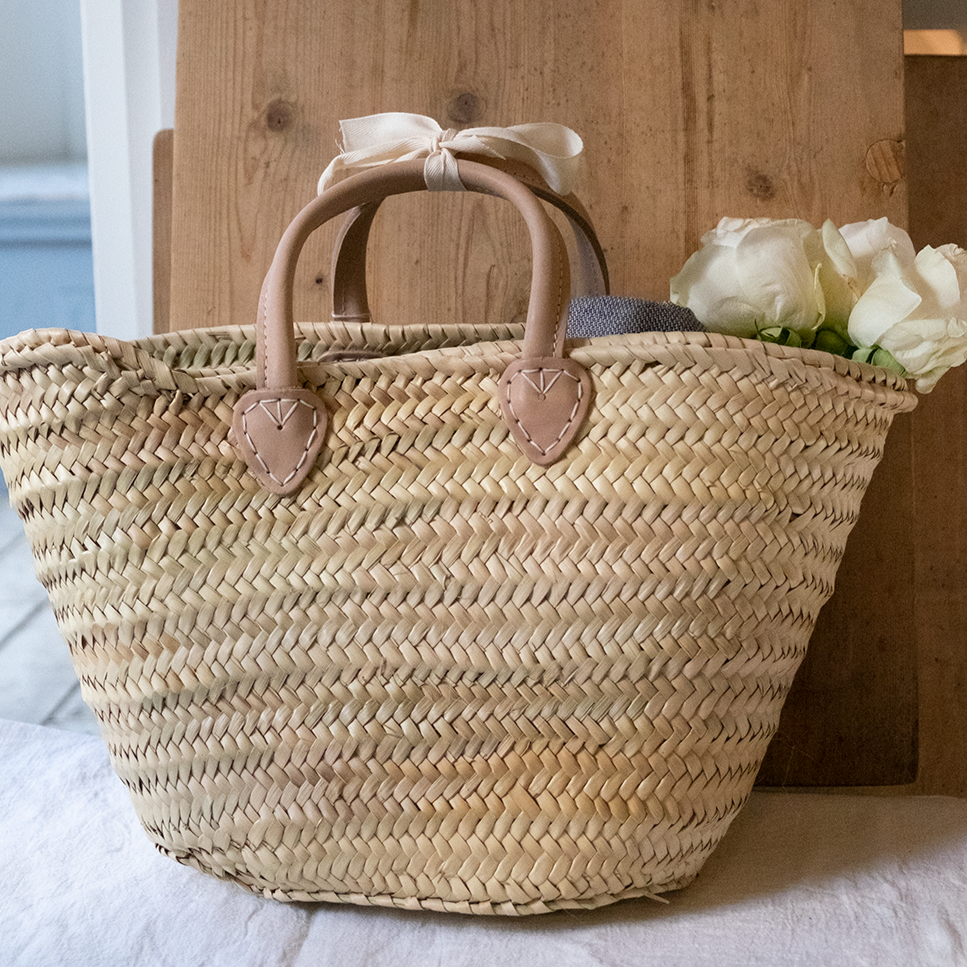 Santiago French Basket with Natural Leather