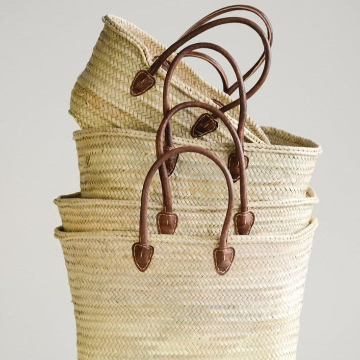Moroccan Basket With Leather Handles