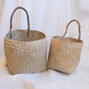 Whitewashed Seagrass Wall Baskets w/ Handles